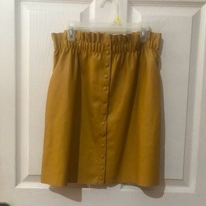 Paper bag button down vegan leather skirt